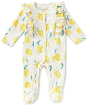 Jessica Simpson Baby Girls Newborn-9 Months Lemon Print Ruffle Sleeve Footed Coveralls