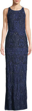 Aidan Mattox Beaded Crisscross Lace Gown