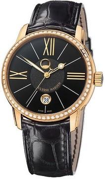 Ulysse Nardin Classico Luna Black Dial Alligator Leather Strap Automatic Men's Watch