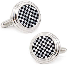 Ox & Bull Trading Co. Men's Onyx and MOP Checker Step Cufflinks
