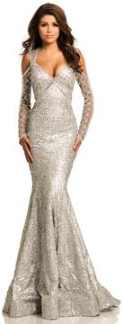 Johnathan Kayne 8106 Cold Shoulder Beaded Mermaid Gown