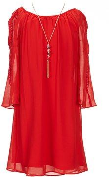 I.N. Girl Big Girls 7-16 Cold-Shoulder A-Line Dress