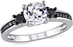 Black Diamond Amour and White Sapphire Engagement Ring - Size 8