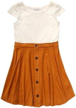 Youngland Crochet Bodice Suede Skirted Dress