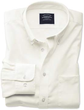 Charles Tyrwhitt Classic Fit Button-Down Non-Iron Twill Off-White Cotton Casual Shirt Single Cuff Size XL