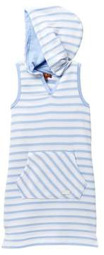7 For All Mankind French Terry Stripe Hooded Dress (Big Girls)