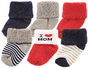 Luvable Friends White & Red 'I Heart Mom' Six-Pair Socks Set - Infant