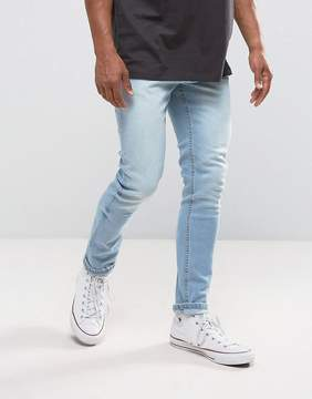 Pull&Bear Slim Fit Jeans In Light Blue Wash