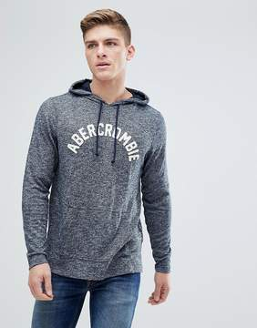 Abercrombie & Fitch Large Flock Logo Hoodie in Navy Marl
