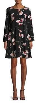 Context Floral Bell-Sleeve Shift Dress