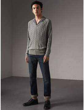 Burberry Cable and Rib Knit Cashmere V-neck Sweater