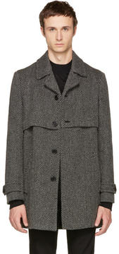 Saint Laurent Grey Herringbone Gun Flap Coat