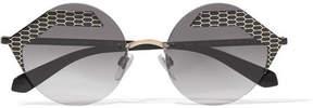 Bvlgari Serpenti Round-frame Printed Metal Sunglasses - Gray