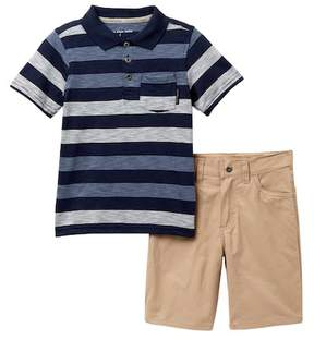 Calvin Klein Striped Polo & Twill Shorts Set (Little Boys)