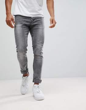 New Look Super Skinny Jeans In Black Acid Wash