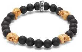 King Baby Studio Bone & 8MM Beaded Onyx Skull Charm Bracelet
