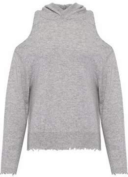 RtA Cold-Shoulder Distressed Cashmere Hooded Top