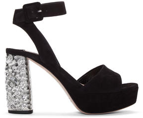 Miu Miu Black Suede and Crystal Sandals