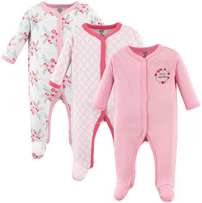 Luvable Friends Pink Floral Snap-Front Footie Set - Newborn & Infant