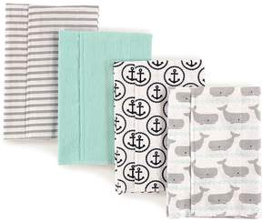 Hudson Baby Whales Flannel Burp Cloths - Set of Four
