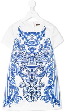 Roberto Cavalli baroque-print T-shirt dress