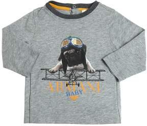 Armani Junior Dog Printed Cotton Jersey T-Shirt