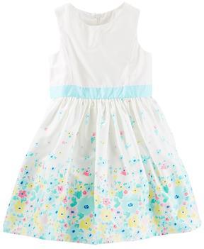 Osh Kosh Toddler Girl Floral Border Print Sateen Dress