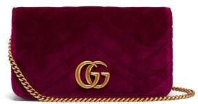 Gucci Marmont Gg Velvet Mini Cross Body Bag - Womens - Purple