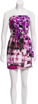 Ali Ro Printed Strapless Silk Dress w/ Tags