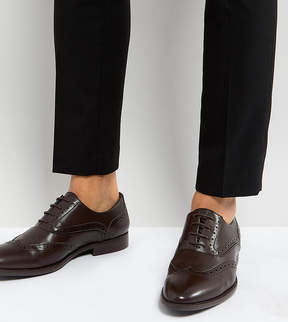 Asos Wide Fit Brogue Shoes In Brown Faux Leather