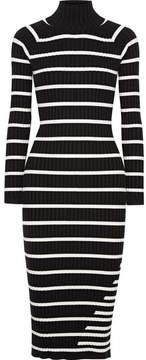 Alexander Wang Striped Ribbed Stretch-knit Turtleneck Midi Dress - Black