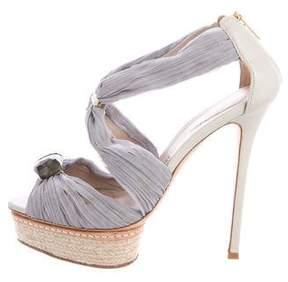 Le Silla Satin Embellished Sandals