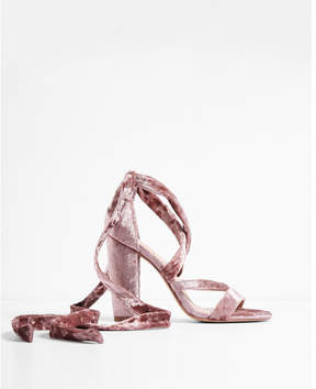 Express strappy velvet heeled sandals