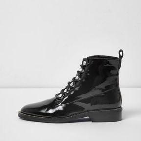 River Island Womens Black patent rhinestone trim lace-up boots