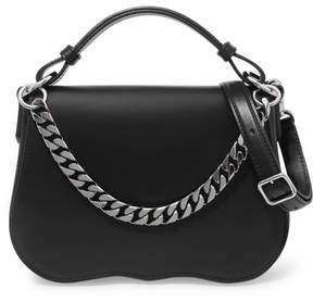 Calvin Klein Chain-trimmed Leather Shoulder Bag - Black