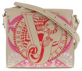Versace EE1VRBBR5 Light Brown Crossbody Bag with silk thread embroidery