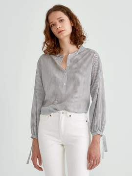 Frank and Oak Striped Bell Sleeve Blouse in Black and White