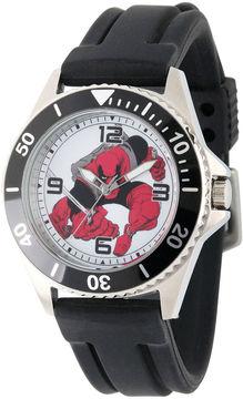 Marvel Mens Deadpool White Dial Black Rubber Strap Watch