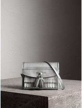 Burberry Brogue Detail Metallic Leather Crossbody Bag - SILVER - STYLE