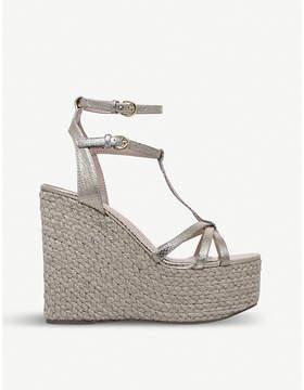 Miss KG Pamela snake-embossed metallic wedged sandals