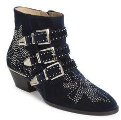 Chloé Susanna Studded Velvet Ankle Boots