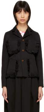 Comme des Garcons Black Ruffle Pocket Crinkle Blazer Jacket