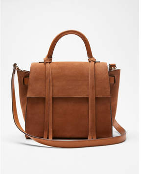 Express genuine suede top handle satchel