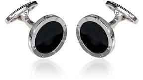 Jan Leslie Round Onyx Screw Sterling Silver Cufflinks