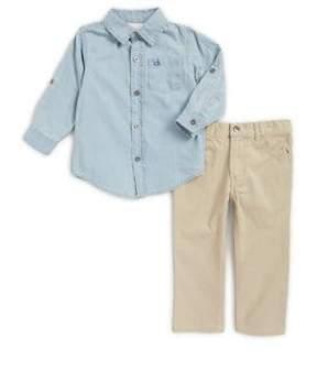 Calvin Klein Jeans Little Boy's Two-Piece Button-Down Shirt and Pants Cotton Set