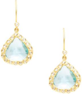 Amrapali Women's 18K Yellow Gold, Blue Topaz & 0.72 Total Ct. Diamond Teardrop Earrings