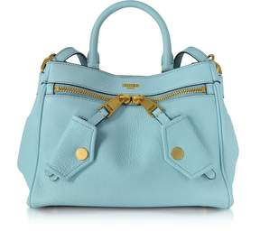 Moschino Light Blue Leather Satchel Bag