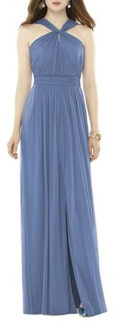 Alfred Sung Women's Twist Neck Chiffon Knit Gown