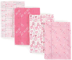 Luvable Friends Pink Love Layered Flannel Burp Cloth Set