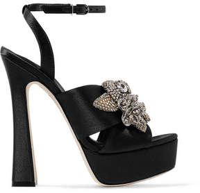 Sophia Webster Lilico Crystal-embellished Satin Platform Sandals - Black